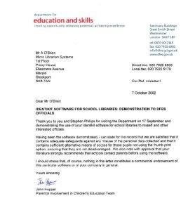 DfES letter 2002